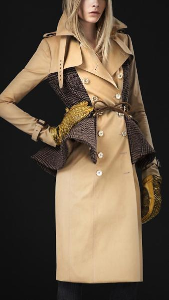 Burberry: Wool Peplum Trench Coat