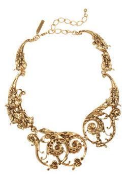 Oscar de la Renta - 24-karat gold-plated scroll necklace