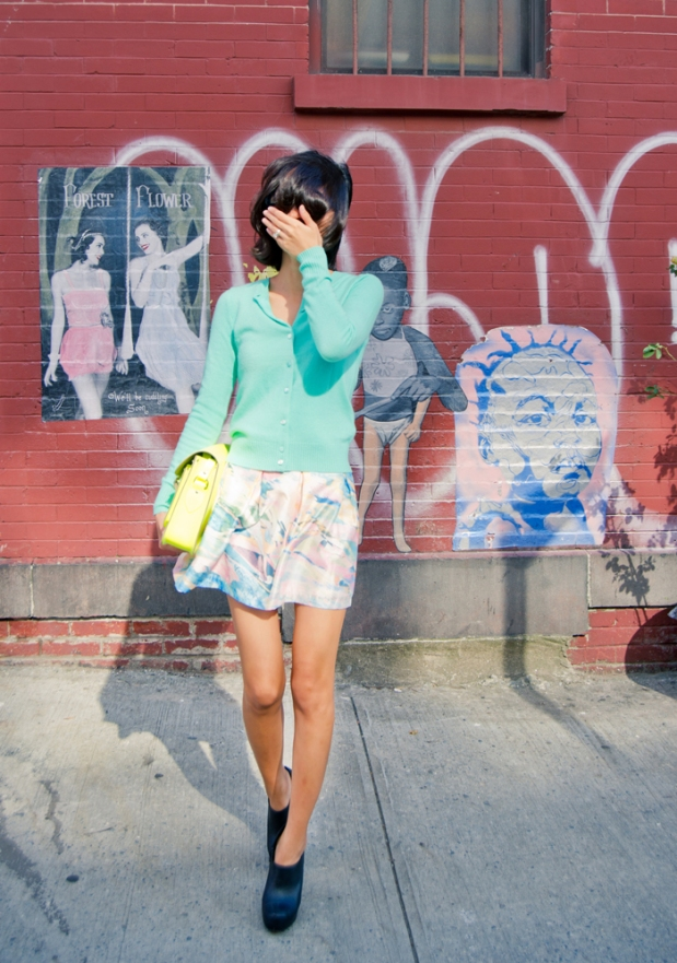 a misspouty blog pastel jade jcrew cardigan watercolor silk skirt cambridge satchel fluoro karen walker number six street style fashion blogger newyork05