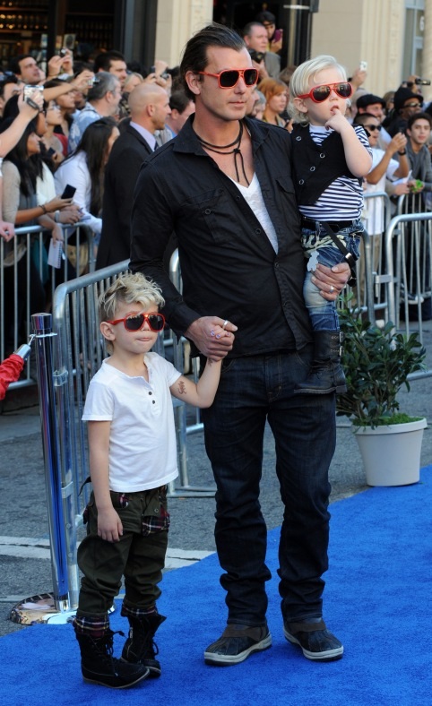 "Gavin Rossdale attend the ""Gnomeo & Juliet"" premiere with sons in Los Angeles"