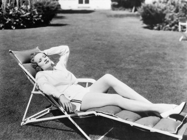 Marlene Dietrich Relaxing in a Lawn Chair