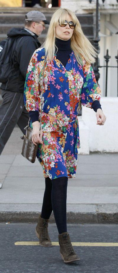 Claudia Schiffer leaving kid's school in London